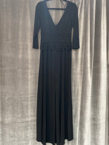 Tadashi Soji Black V-Neck Stretch Floor Length Gown