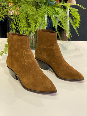 Loeffler Randall Brown Suede Pointy Toe Back Zip Bootie