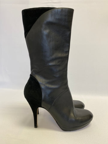 Via Spiga Leather with Suede Black Midi Heeled Boot