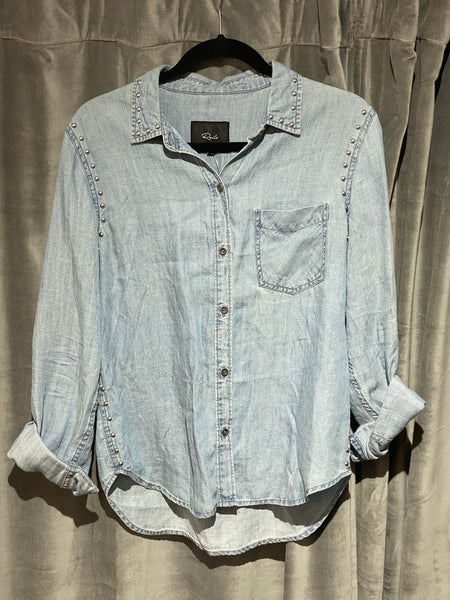 Rails Denim Light Wash Button Down shirt with Silver Studs