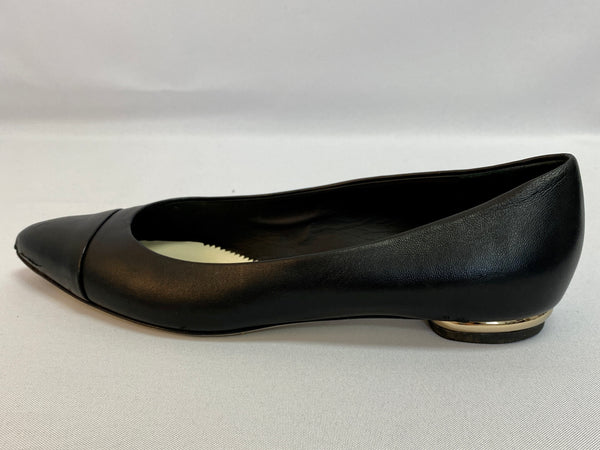 Chanel Black Leather Pointed Flats