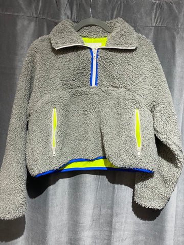 Sandy Liang Bean Pullover Grey with Neon Yellow interior and White Zipper