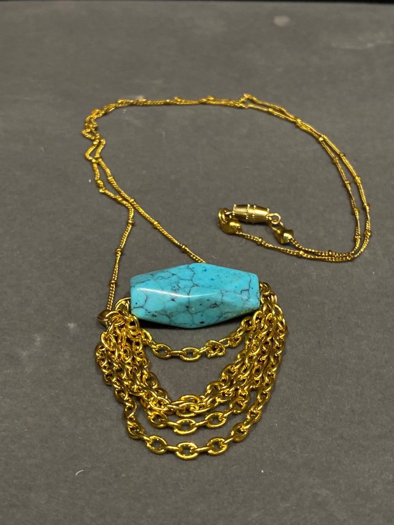 Gold Plate and Turquoise Stone Necklace