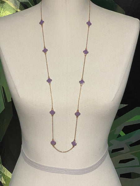 Gold and Purple Long stone Necklace