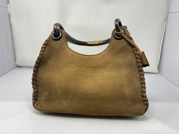 Vintage: Gucci suede Whip Stitch with wooden top handle bag
