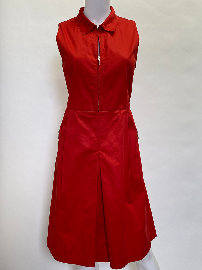 Armani Red Collared Zip Sleeveless Sundress