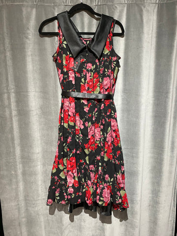Sandra Darren Floral Midi Sheer Dress with Satin collar