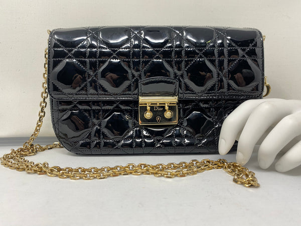 Vintage: Miss Dior Promenade Patent Leather Crossbody Bag with Gold Link DIOR Chain