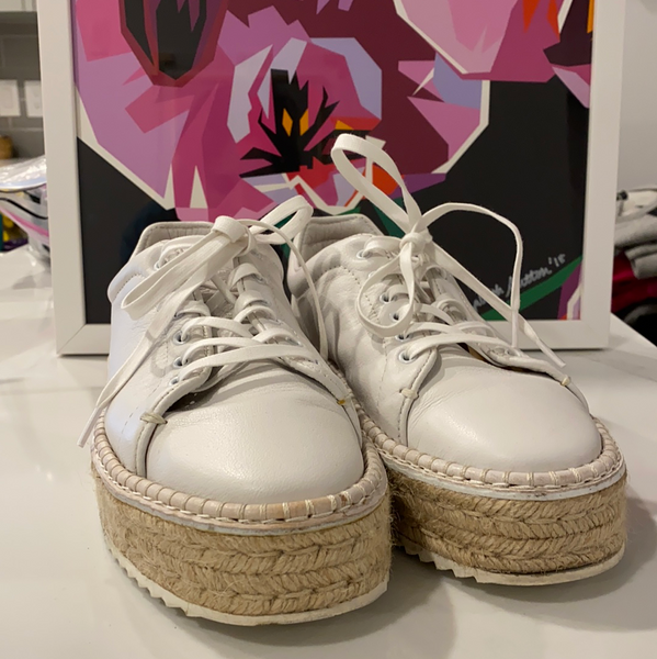 Rag & Bone White Leather Platform Sneaker with Rubber Sole