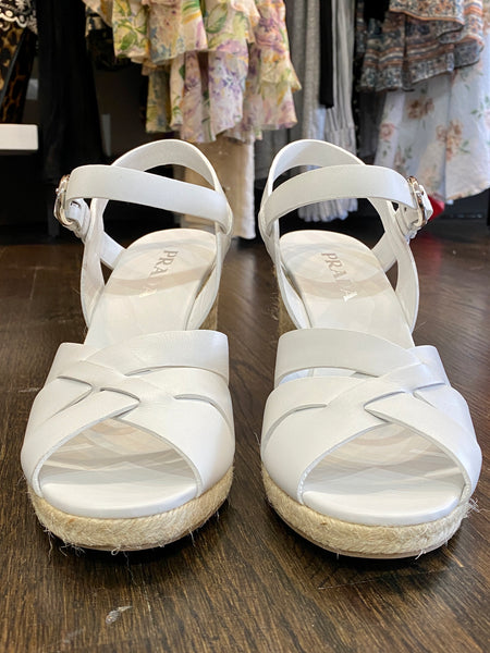 Prada White Leather Woven Wedge Sandal