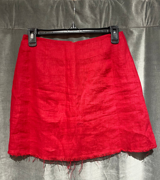 REFORMATION Red Linen Mini Skirt