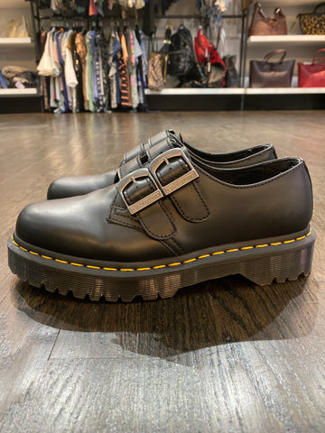 Dr. Martens Double Buckle Strap Black Oxford Shoes