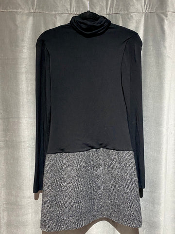 BAILEY44 Black Long Sleeve Turtle Neck Knit Mini Dress with Wool Skirt