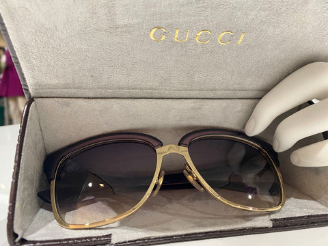 Gucci Gold/Eggplant Sunglasses with Gradient Lens
