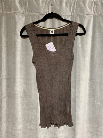 Missoni Brown Knit V Neck Ribbed Tank Top