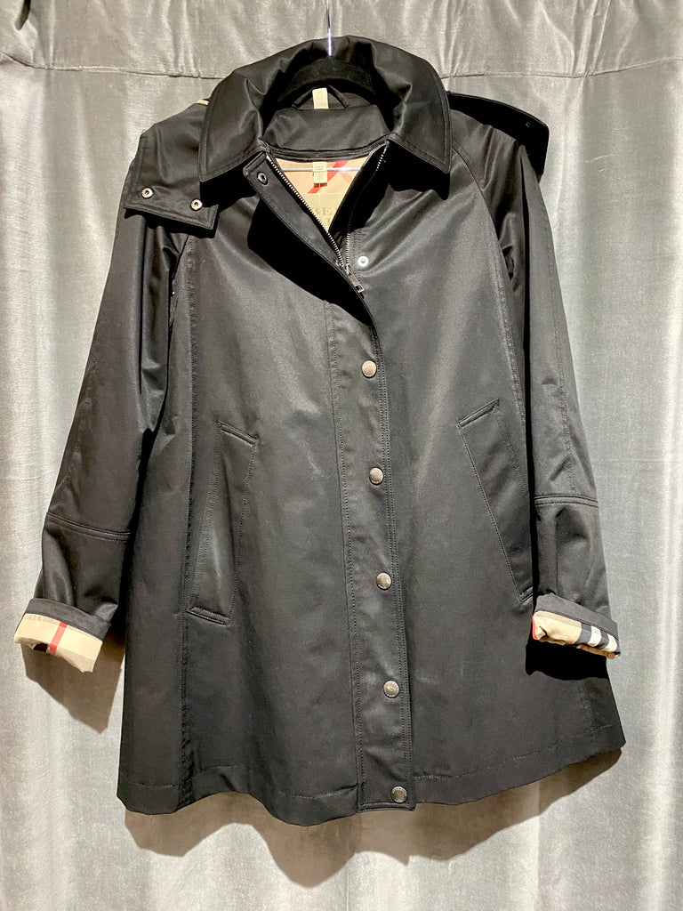Burberry Black Hooded Raincoat with Zip In Linging