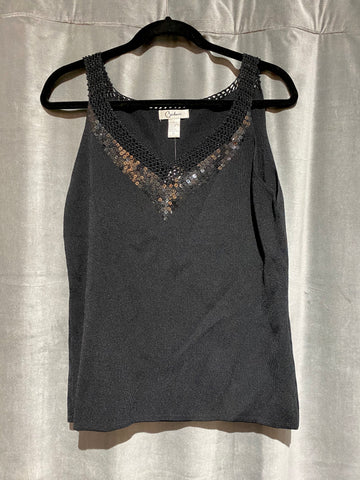 Carducci Sleeveless Knit Cami with beaded and Sequin V neck Collar