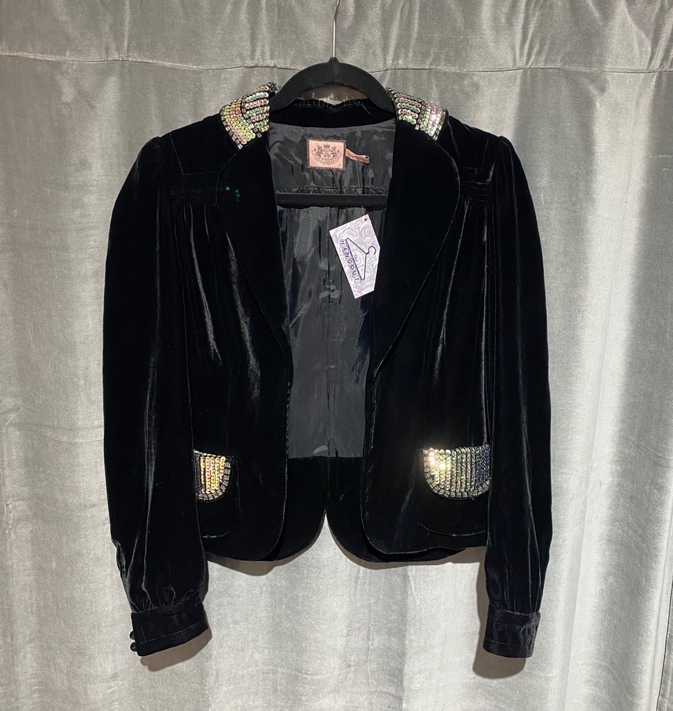 Juicy Couture black Velvet Open Blazer with Embellished Collar and Pockets