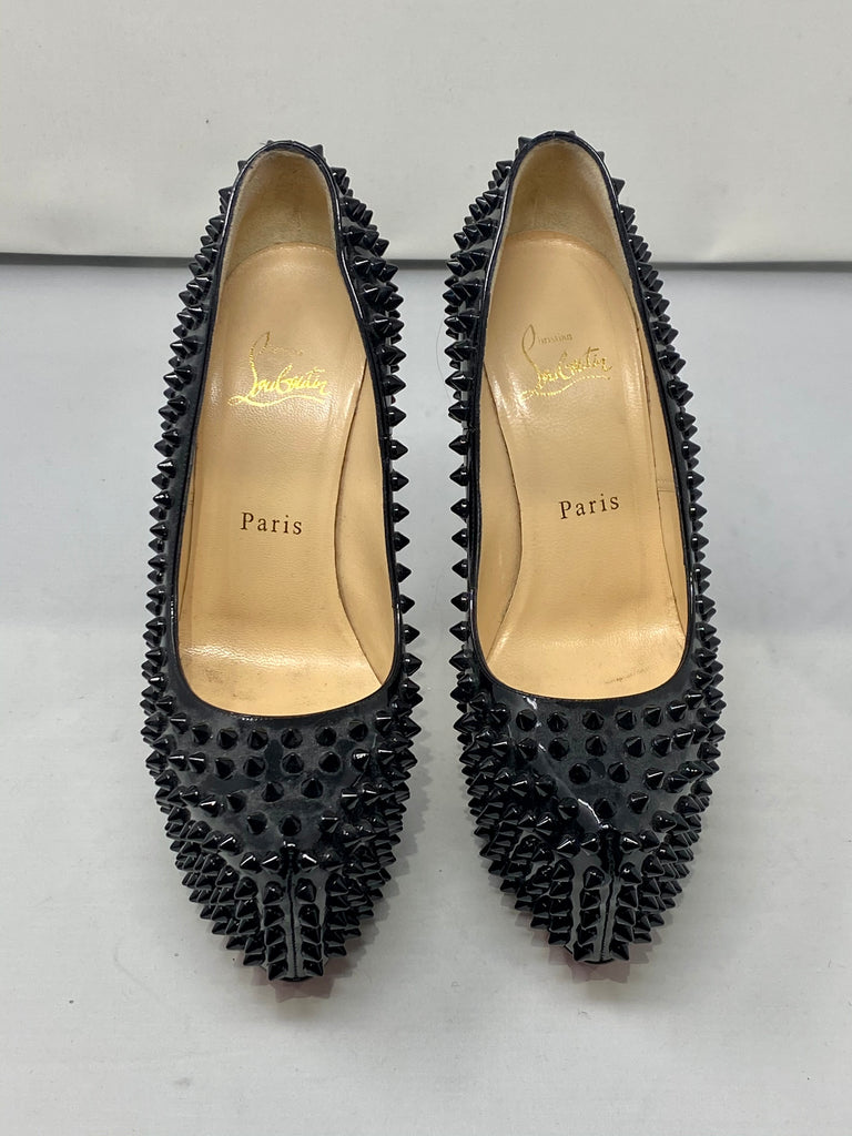 Christian Louboutin Black Patent Leather Spiked Platform Pump