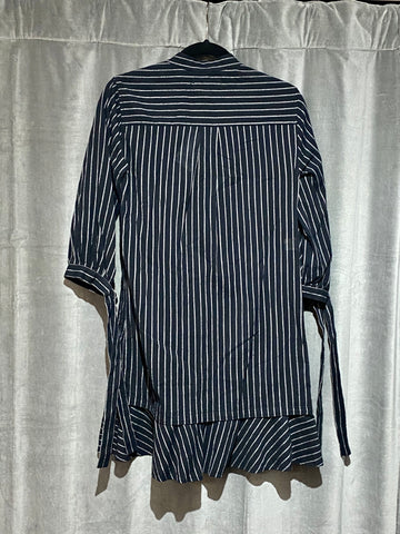 Derek Lam 10 Crosby denim Long Sleeve Striped Collarless dress