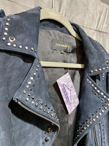 Kobi Halperin Navy Suede Short Moto Jacket with Silver Hardware and Black Stones