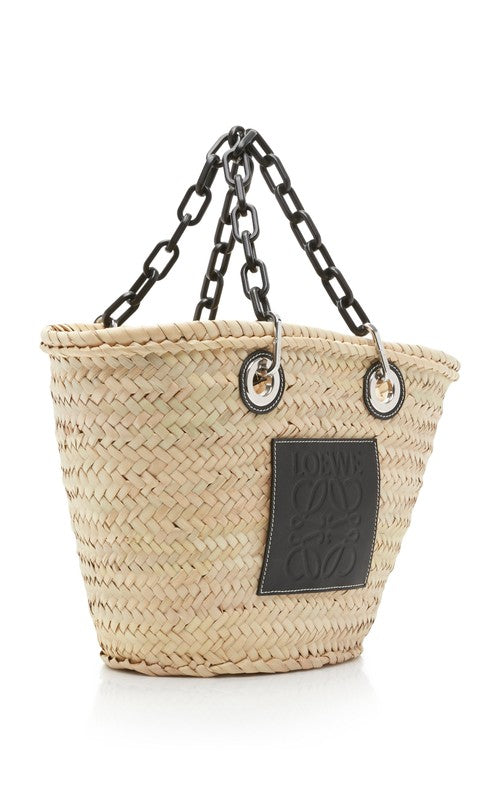 Loewe Women Medium Chain Handle Woven Straw Bag