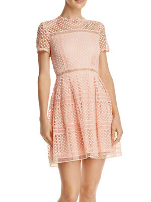 Aqua Lace Fit and Flare Peach Short Sleeve Dress