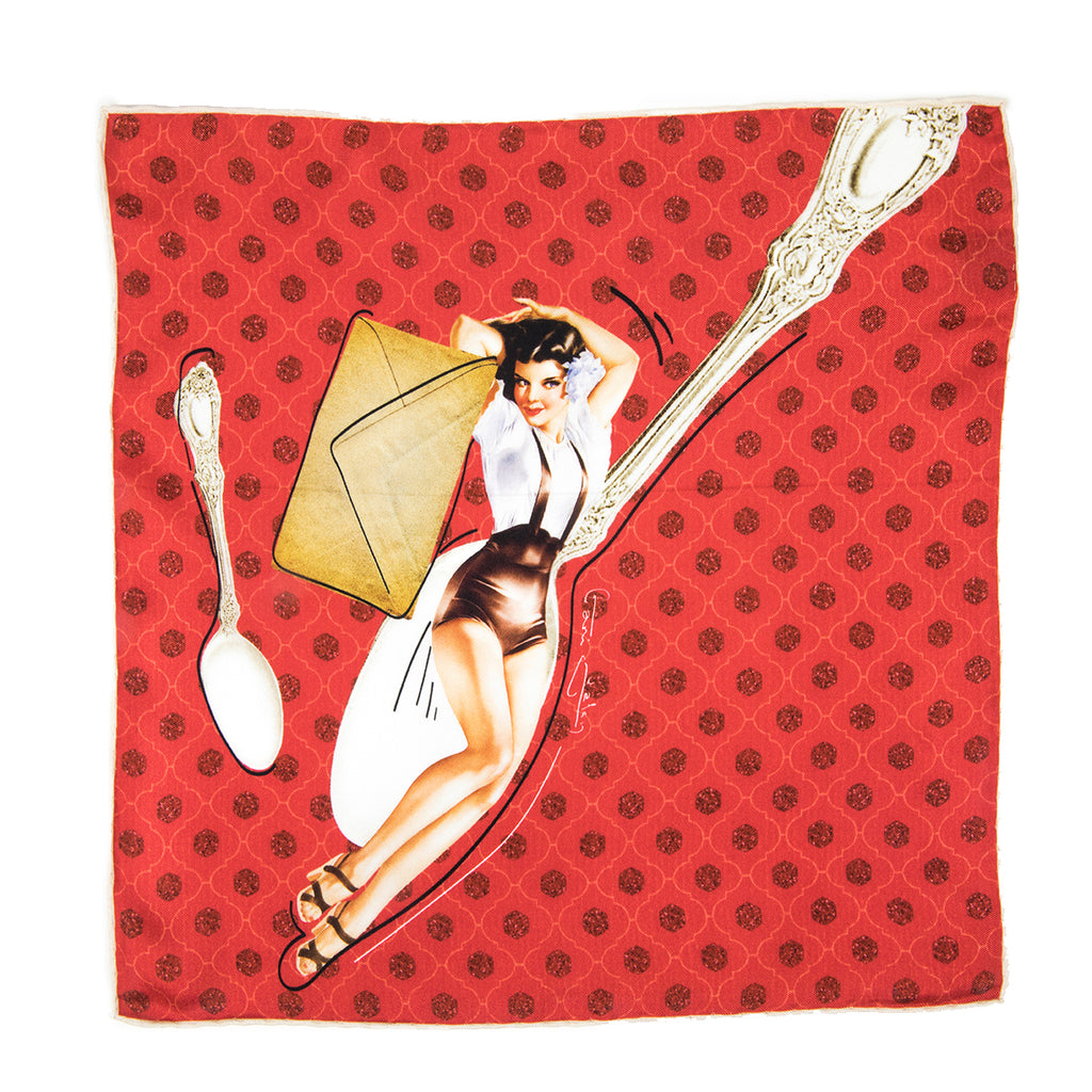 Retro Girl & Spoon Silk Pocket Taschentuch