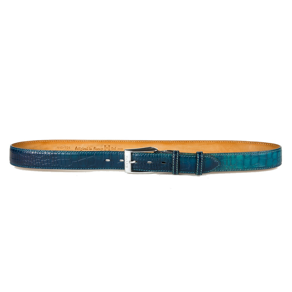 Harris Crocodile Pattern Blue Belt