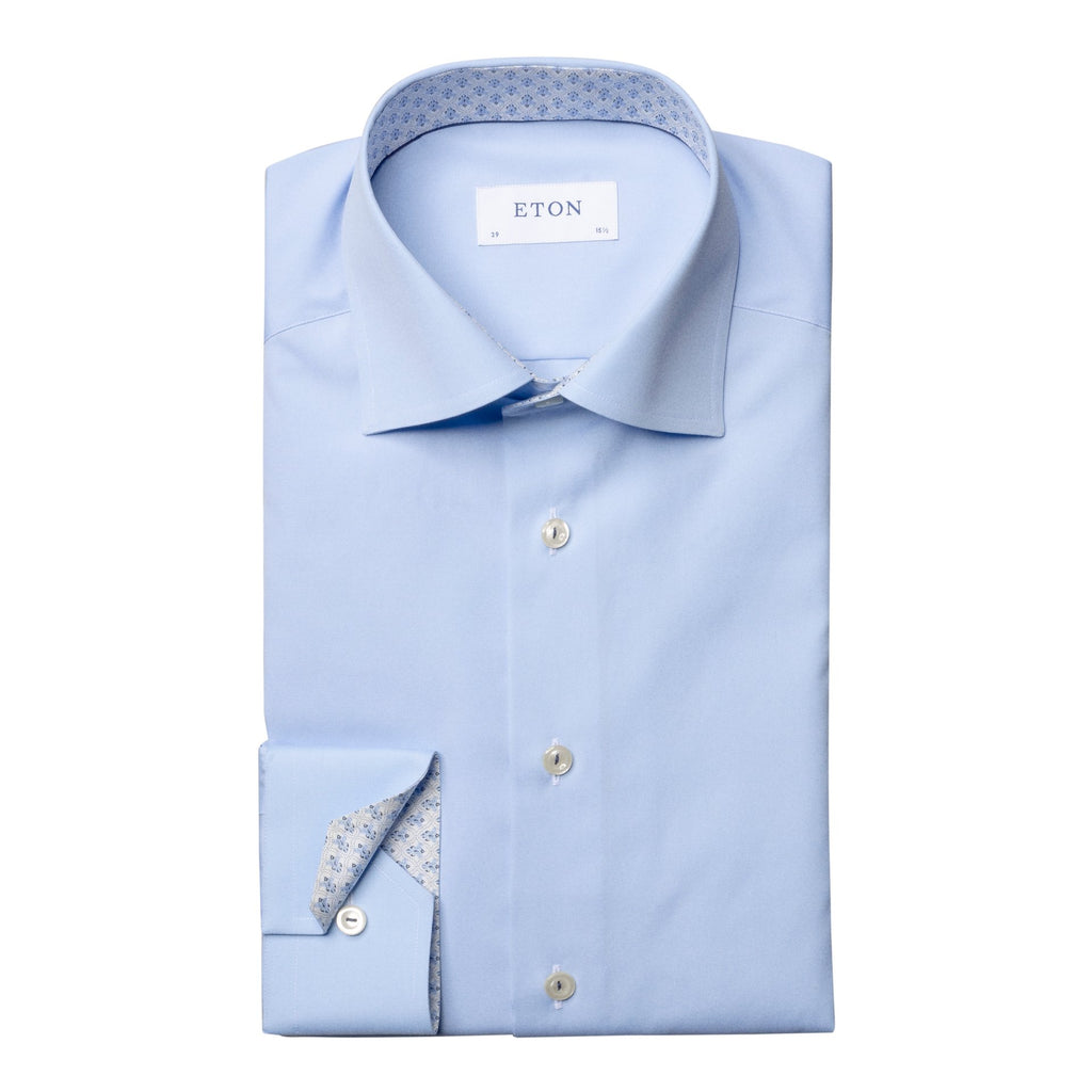 Ice white shirt with pattern İçi Eton Yaka