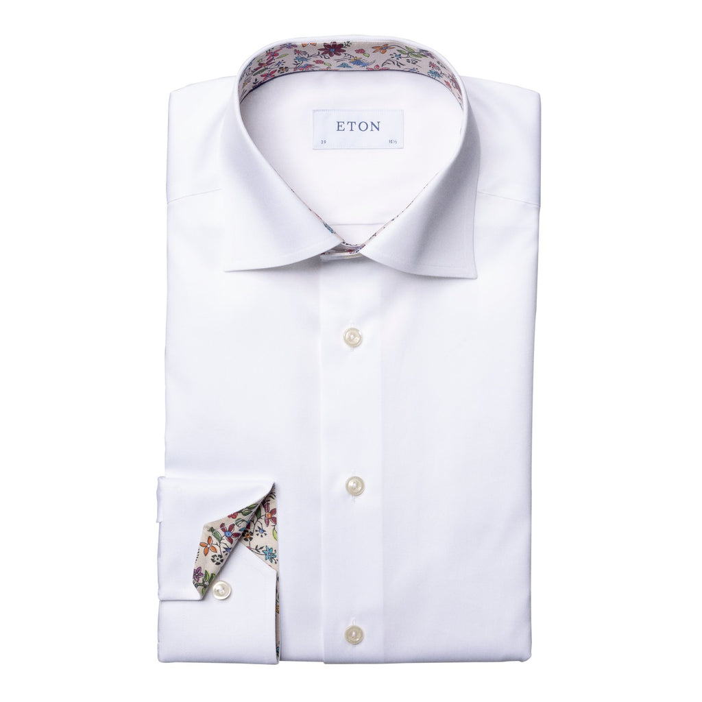Eton Collar Patterned White Cotton Shirt