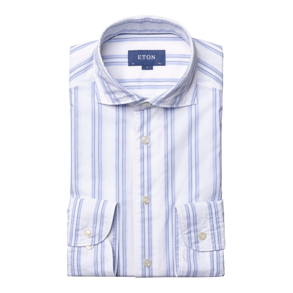 Eton Blue Striped Cotton Shirt