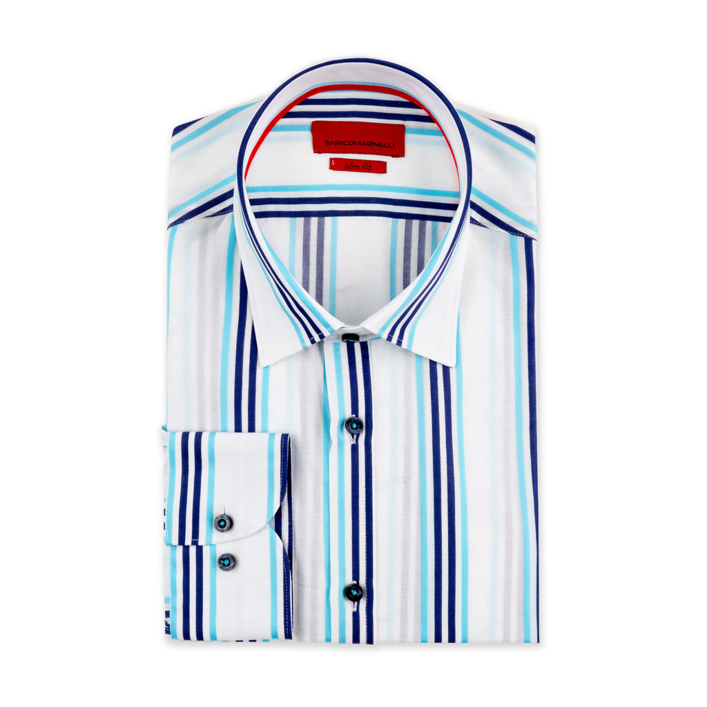 ENRICO MARINELLI TURQUOISE BLUE STRIPED SHIRT