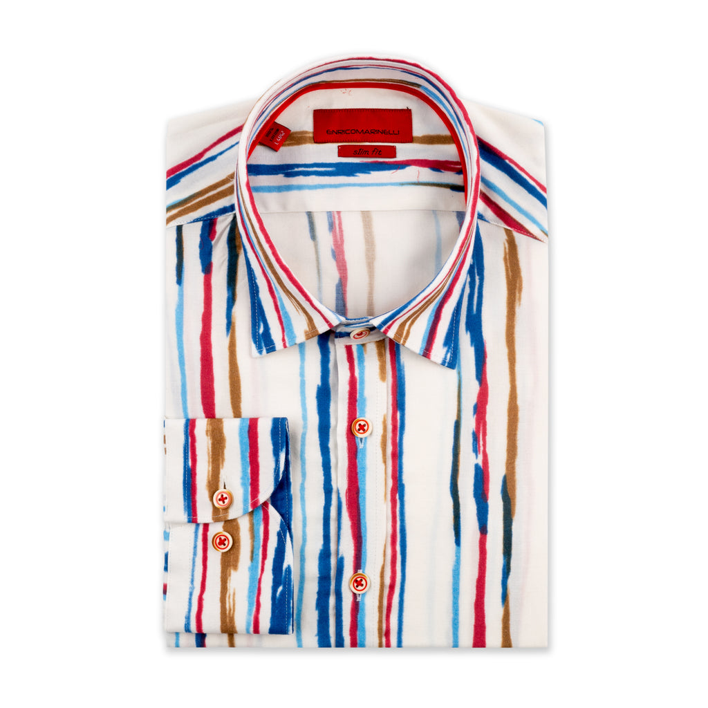 ENRICO MARINELED OIL PAINTED SHIRT