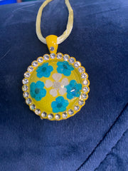 Real Flower and Rhinestone Pendant