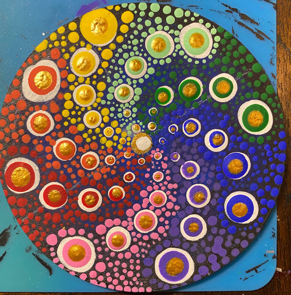 Rainbow Burst Mandala Dot Art coaster