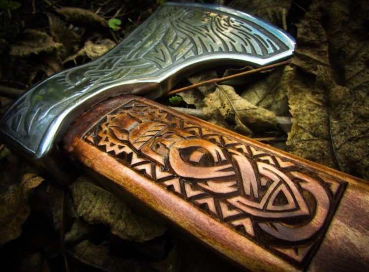 Engraved viking axe for sale