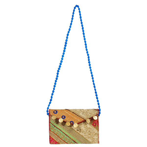 Long beaded shoulder bag for women