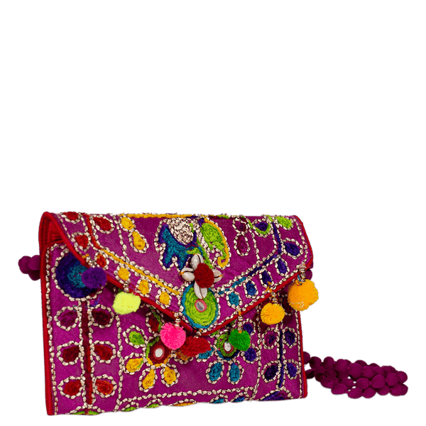 Purple handcrafted shoulder bag for women