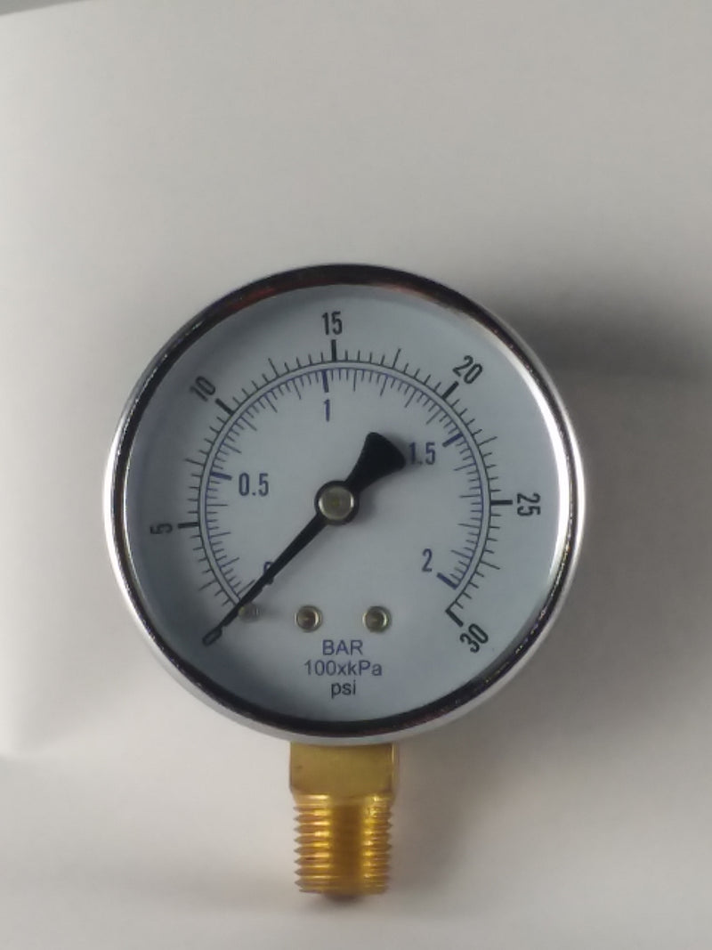 "0-30PSI/BAR-KPA LM 2-1/2"" Dry Gauge"