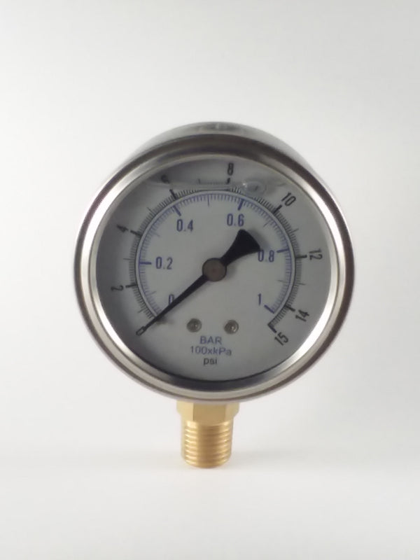 "0-15PSI/BAR-KPA LM 2-1/2"" Liquid Filled Gauge"