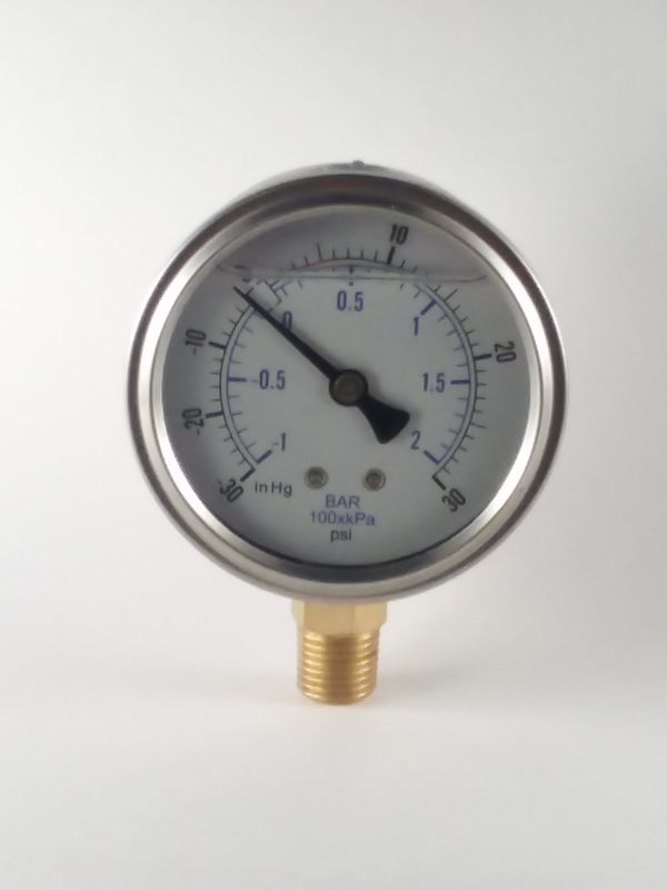 "2-1/2"" Liquid Filled Vacuum Gauge -30 to 30 PSI"