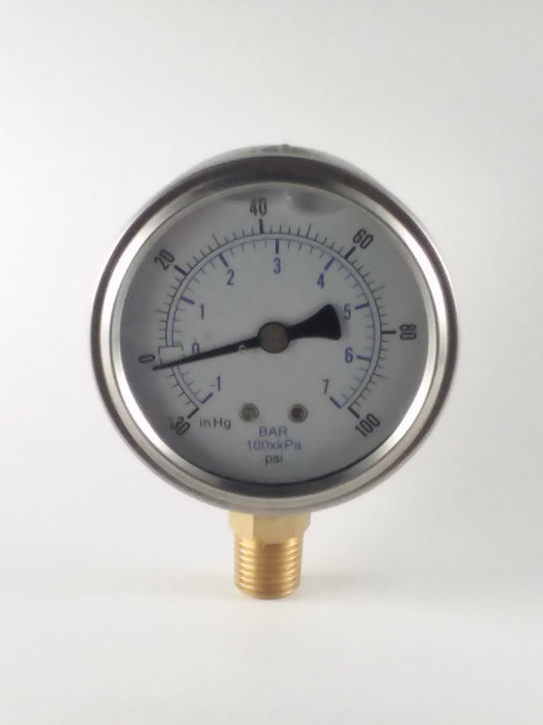 "-30-100PSI/BAR-KPA LM 2-1/2"" Liquid Filled Gauge"