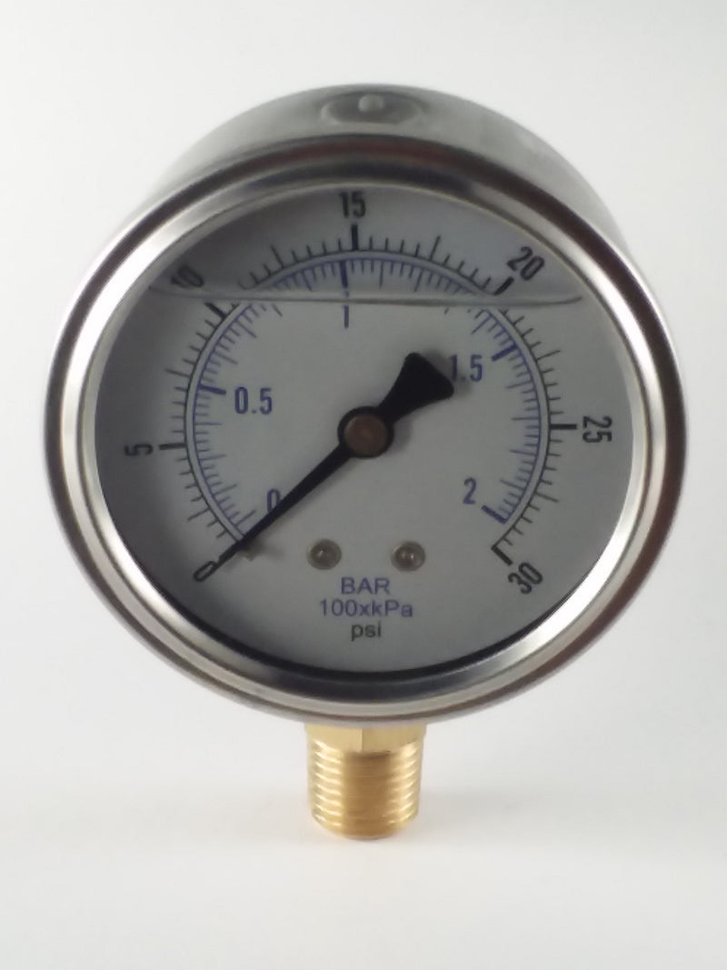 "0-30PSI/BAR-KPA LM 2-1/2"" Liquid Filled Gauge"
