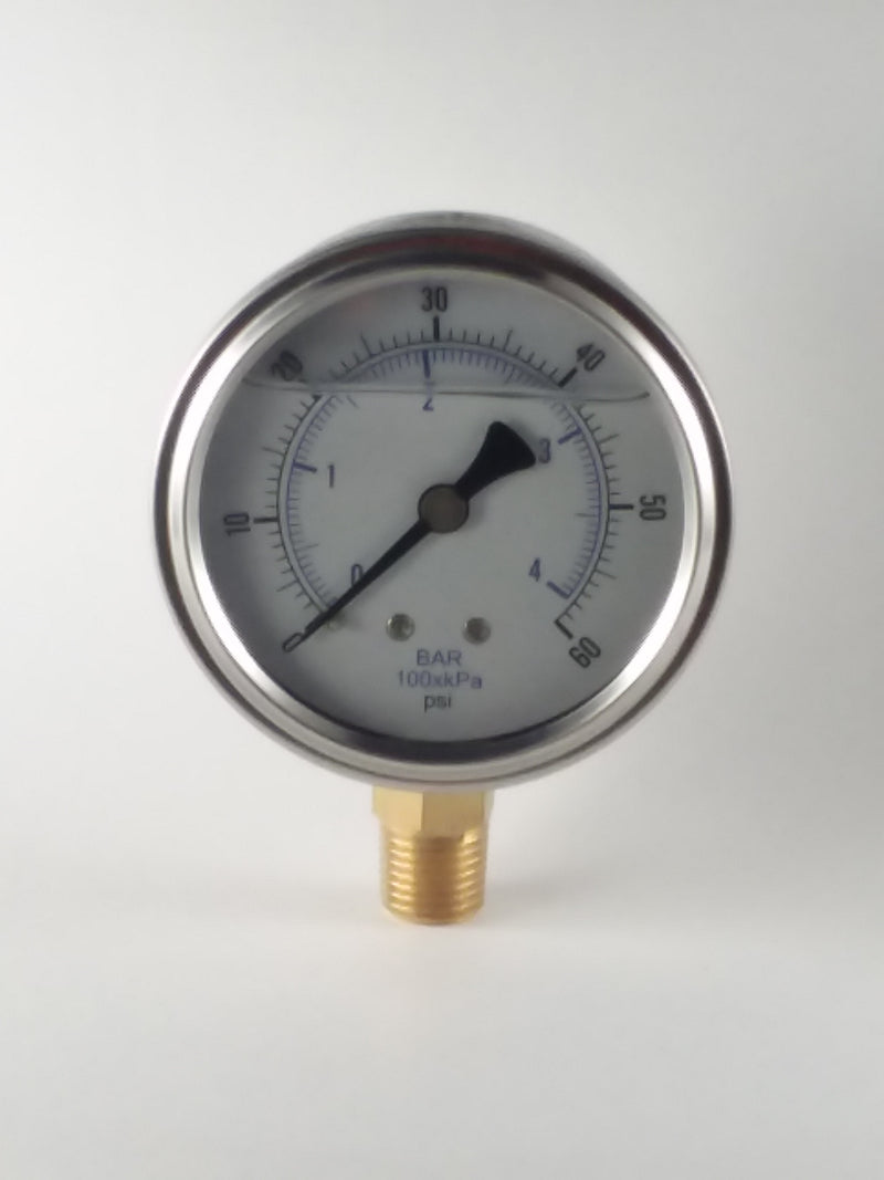 "0-60PSI/BAR-KPA LM 2-1/2"" Liquid Filled Gauge"