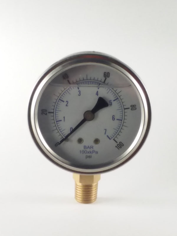 "0-100PSI/BAR-KPA LM 2-1/2"" Liquid Filled Gauge"