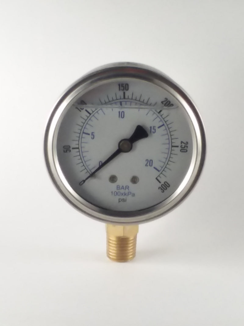 "0-300PSI/BAR-KPA LM 2-1/2"" Liquid Filled Gauge"