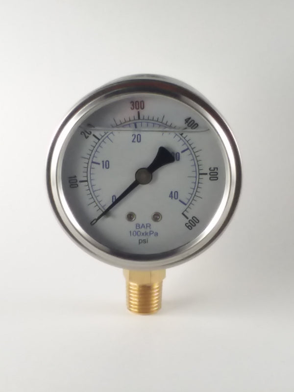 "0-600PSI/BAR-KPA LM 2-1/2"" Liquid Filled Gauge"