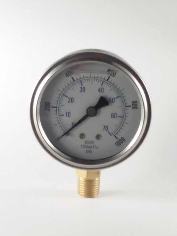 "2-1/2"" Liquid Filled Gauge 0 to 1000 PSI"