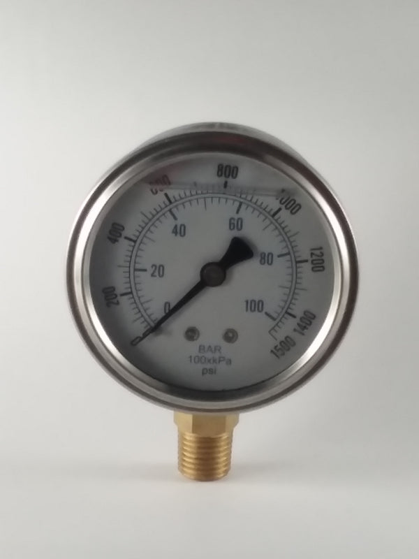 "2-1/2"" Liquid Filled Gauge 0 to 1,500 PSI"